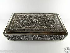 ANTIQUE PERSIAN STERLING SILVER 84 CIGAR JEWELRY BOX 1036 GRAMS