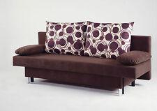 2-Sitzer Sofa mit Schlaffunktion & Bettkasten & Kissen Mikrofaser FARBE wählbar