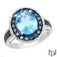 FPJ Brand NEW 14k White Gold w/ Genuine Diamonds & Topaz, 4.16 ctw, Size 7