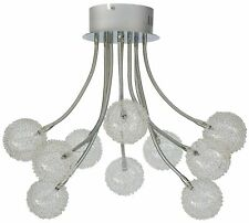 Deckenleuchte Alissa 10 flammig Flexarme Lampe Chrom Glas Draht Hängelampe