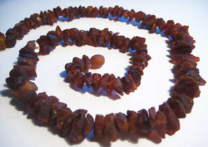 100% Authentic Raw Dark Cherry  Baltic Amber Dog Necklace .18inch