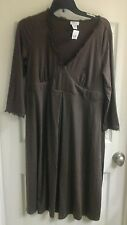 Mimi, Maternity dress, brown pleated front, v-neck,  women's size large, NWT $98