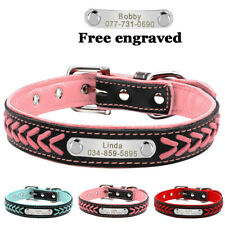 Braided Leather Personalised Dog Collar Pet Cat Custom Name ID Tag Engraved XS-L