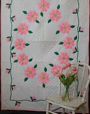 New listing Groovy Flower Power Vintage Bright Pink Applique 1960s Quilt 89x55