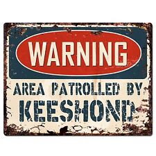 Pp2437 Warning Area Patrolled By Keeshond Plate Chic Sign Home Store Decor