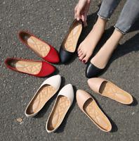 Women's Faux Leather Slip-On Casual Leisrue Pointy Toe Stiletto Flat Heel Shoes