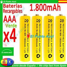 4 Pilas AAA Recargables★1800mAh★1,2 voltios Amarillo★Rechargeable-Bateria Yellow