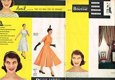 PUBLICITE ADVERTISING 015  1956  LES TISSUS BOUSSAC  ( double page attachée)