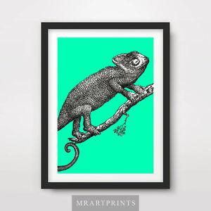 CHAMELEON ART PRINT POSTER Animals Colour Lizard Pop Bright Decor Illustration