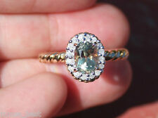 New 14k 0.9ct Oval Color Change Zultanite 0.15ct Diamond Halo Ring Yellow Gold