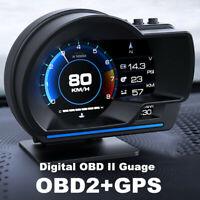 HUD OBD2+GPS Head Up Display Compteur de vitesse numérique de voiture RPM Alarme