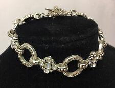 Antique Vintage Deco Style Silvertone Geometric Bracelet Rhinestone Crystals