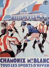 Vintage Ski carteles Chamonix Mont Blanc Wintersports & impresión de hockey sobre hielo Art Deco