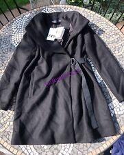 Zara Black Coat L Large 12 New Manteco Wool Blend