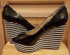 Michael Kors Black Patent Leather w/Striped Wedge Heels, 9M - $169