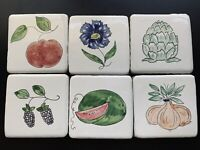 Vintage Hand Painted Mexican clay tiles (6) Fruits Veggies Trivets  Backsplash
