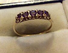 Señoras hermosas Completo caracteriza Vintage 9ct oro cinco Piedra Amatista Anillo P 1/2