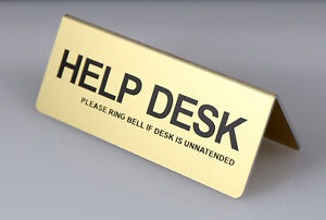 HELP DESK TABLE DESK SIGN ALUMINIUM WITH VINYIL LETTERS 95mm x 38mm GOLD SILVER
