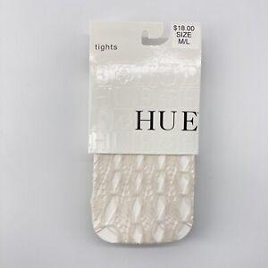 HUE Cream Tights Linear Diamonds Net Linen M/L #14211 Nylon & Spandex
