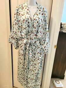 Serenada Womens Plus 4x Long Blue Satin Robe Florals Sash Belt