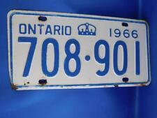 ONTARIO LICENSE PLATE 1966 708 901 VINTAGE CAR SHOP GARAGE SIGN MAN CAVE