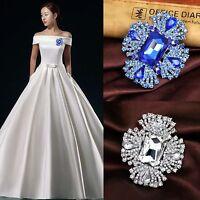 Luxury Women Bridal Wedding Bouquet Rhinestone Crytsal Crosse Flower Brooch Pins