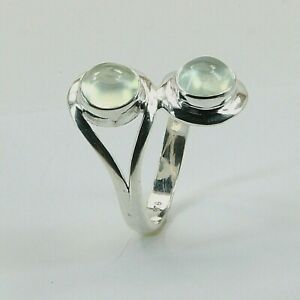 Size 6 - 7 - 8 - 9 - Green Twin Round PREHNITE Ring - 925 STERLING SILVER #1