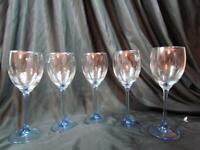 "Vintage Set of 5 Luminarc Arcoroc France Blue Stem Wine Glasses 7-3/4"""