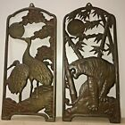 """Antique/Vintage Pair Chinese Bronze Plaques For Hang On The Wall 12 3/4""""x 5 3/4"""""""