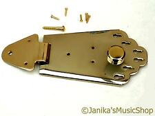 Gold semi-acoustic guitar tailpiece jazz hinged 6 string tail piece anchor new
