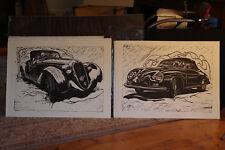 """Merge left Merge Right"" Roy E. Dryer III Diptych Lino Cut Block Prints"