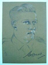 Ritratto Militare Seconda guerra mondiale privato G McDonald MATITA Robert Lyon 1941