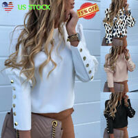 Women Casual Long Puff Sleeve Blouse Ladies Button Shirts OL Office Work Tops US