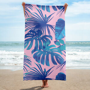 Blue and Pink Tropical Leaves Bath or Beach Towel