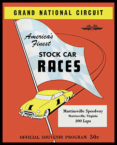 Martinsville NASCAR Program 1950's Program Poster - 8x10 Color Photo