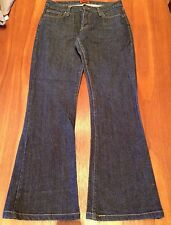 LEE Womens Blue Dark Wash Bumster '70's Flare 100% Cotton Denim Jeans 11