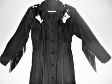Custom Made Western COWGIRL DUSTER Ranchwear RODEO Cowhide Leather Fringe Size 8
