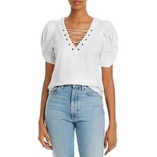 Generation Love Womens Puff Sleeve V-Neck Cotton Top Shirt BHFO 4965