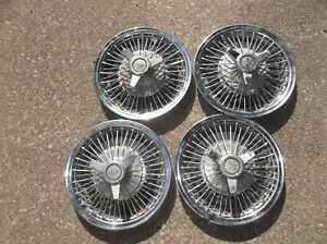 """1964 1965 1966 Chevrolet 14"""" Wire Wheel Spinner Hubcaps Impala Chevelle 64 65 66"""