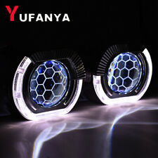 2.5'' Honeycomb Blue Bi xenon HID Projector Lens Square Angel Eyes Headlight