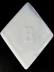 Boyd Glass Company Dealer Sign or Logo Paperweight in Milk glass