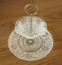 2-Tier Beautiful Lace Etched Glass SERVING TRAY - Excellent Condition!