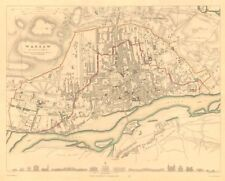 WARSAW WARSZAWA antique town city map plan. Building profiles. Colour. SDUK 1847