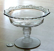 EAPG antique CUPID frosted glass BABY FACE open JELLY COMPOTE McKee & Bros 1880