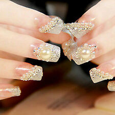 Pretty Bride Wedding 3D False Artificial Fake Nails Tips French Pearl Finger WWS