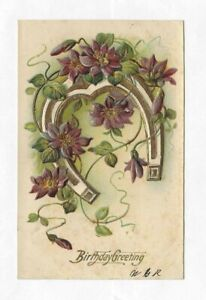 Vintage Embossed Horseshoe And Flowers Birthday Greeting Postcard