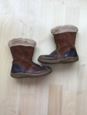 Girls Clarks Tan Brown Leather Boots SIZE 8 F