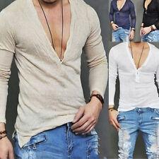 Mens Deep V Neck Summer Long Sleeve T-shirt Basic Tee Shirt Casual Slim Fit Top#