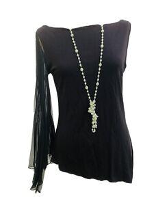 Morgan De Toi Top 90s Black Asymmetric Quirky Ladies Pleated Sheer Sleeve 12
