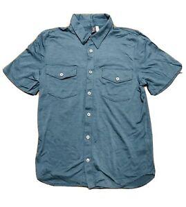 Ibex Short Sleeve Collared Button Up Wool Shirt size Men's Medium